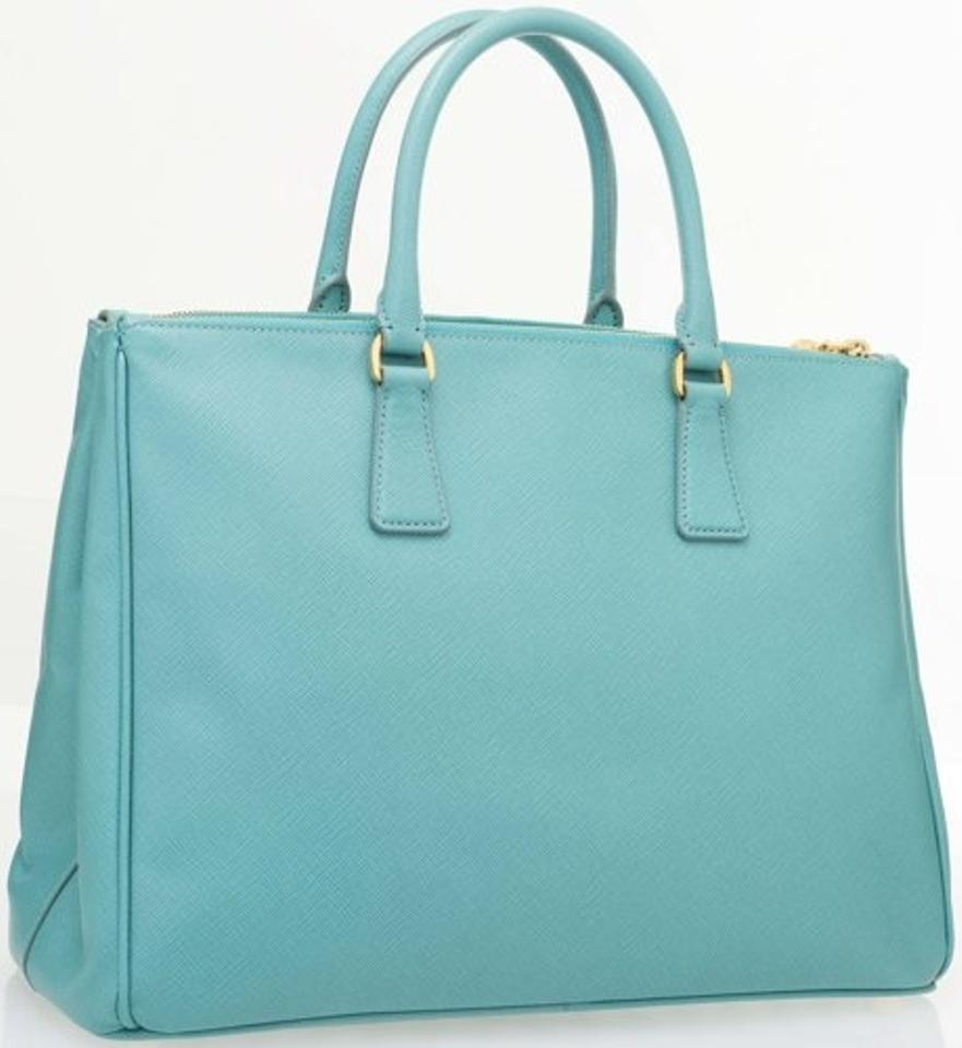 59b04760aaac Prada Double Lux Zip Bn1786 Anice Blue Saffiano Leather Tote - Tradesy