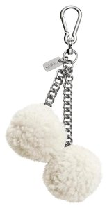 Coach COACH SHEARLING pom pom bag charm In Offwhite color New!!