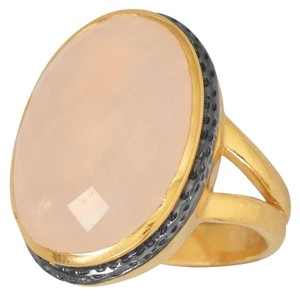 (New) 14 Karat Gold Plated Ring with Faceted Rose Quartz