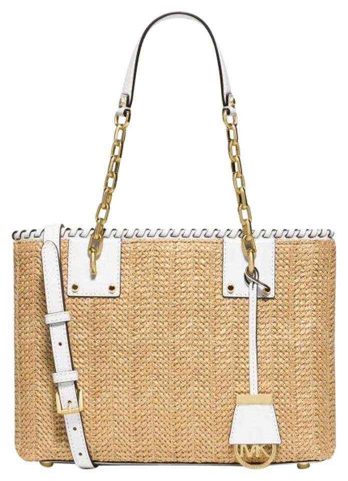 c0869385598d Michael Kors Woven Straw Leather Gold Hardware New With Shoulder Bag Image  0 ...