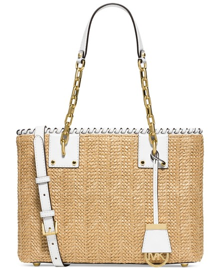 daf259c99124 Michael Kors Woven Straw Leather Gold Hardware New With Shoulder Bag Image 5