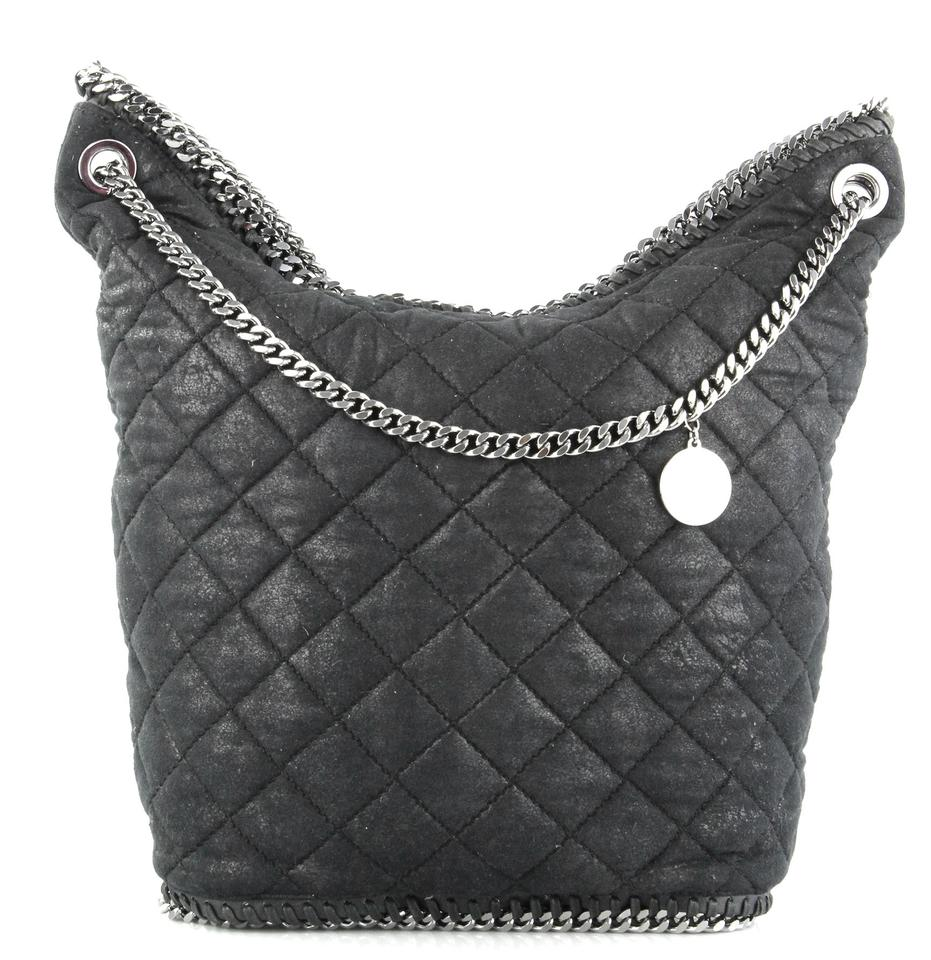 a2e1ca0f4f74 Stella McCartney Falabella Bucket Quilted Black Faux Leather Shoulder Bag