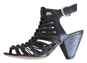 Vince Camuto Gladiator Strappy Cone Open Toe Black Sandals