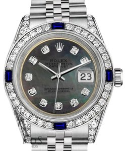 Rolex Ladies Rolex 26mm Datejust S/S Black MOP Dial Sapphire & Diamonds