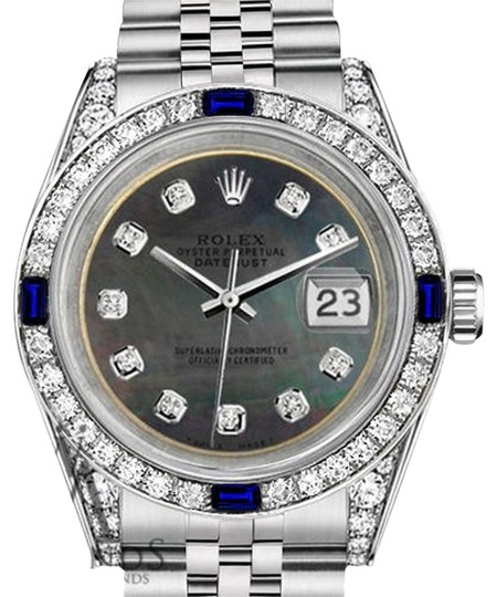 Preload https://img-static.tradesy.com/item/18515194/rolex-ladies-26mm-datejust-ss-black-mop-dial-sapphire-and-diamonds-watch-0-1-540-540.jpg