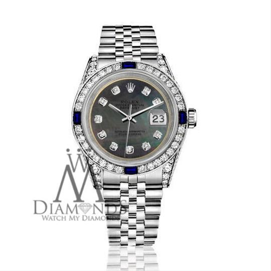 Rolex Ladies Rolex 26mm Datejust S/S Black MOP Dial Sapphire & Diamonds Image 1