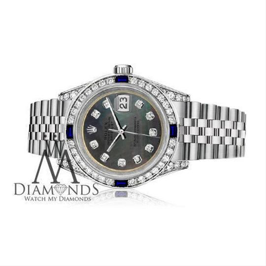 Rolex Ladies Rolex 26mm Datejust S/S Black MOP Dial Sapphire & Diamonds Image 2