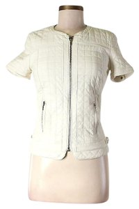 Zara Quilted Ivory Leather Jacket