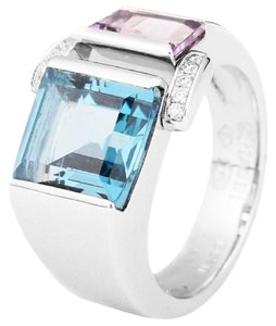 Piaget Piaget 18k white gold topaz amethyst diamonds ring