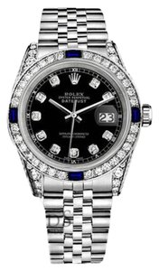 Rolex Ladies Rolex Datejust 26mm Black Dial Sapphire & Diamond A Track