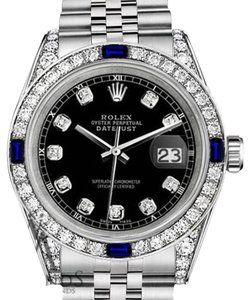 Rolex Women's Rolex 31mm Datejust Black Dial Sapphire & Diamond A Track