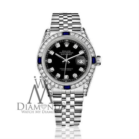 Rolex Women's Rolex 31mm Datejust Black Dial Sapphire & Diamond A Track Image 1