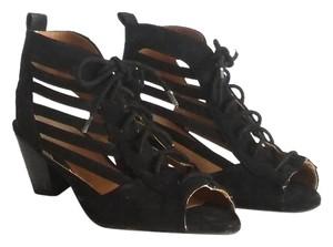 Qupid Modcloth Gladiator Retro Cage Cut Out black Sandals