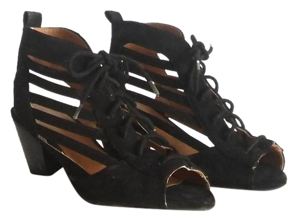 26adbe3ed4e5 Qupid Black Vegan Suede Gladiator Cage Lace Up Open Toe Boot Low Heel  Sandals. Size  US 7 Regular (M ...