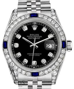 Rolex Rolex 36mm Datejust Black Dial Sapphire & Diamond Bezel With A Track