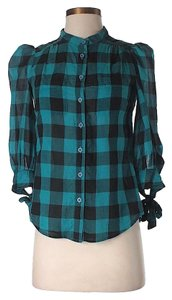 French Connection Checkered Plaid Top Teal & Black