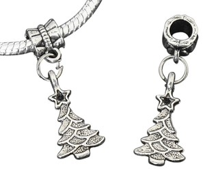 Other Silver Plated European Style Christmas Tree Charms, 4mm hole, Set of 8 Charms.