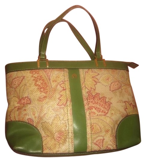 Preload https://img-static.tradesy.com/item/18515935/etienne-aigner-vintage-pursesdesigner-purses-green-leather-and-red-and-pink-floral-woven-raffia-satc-0-1-540-540.jpg