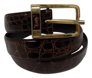 Saint Laurent Yves Saint Laurent Brown Leather Python Belt
