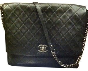 Chanel Leather Quilted Black Messenger Bag