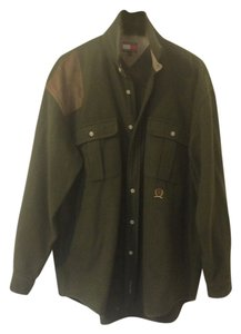 Tommy Hilfiger Button Down Shirt olive green . brown suede patches