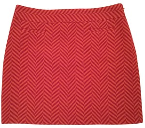 Ann Taylor LOFT Herringbone Chevron Mini Mini Skirt Orange, Pink