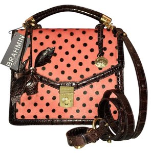 Brahmin Very Rare And Htf Satchel in Pink Luna Dot