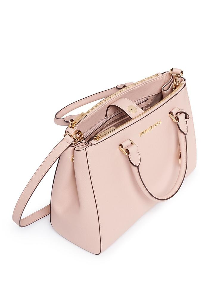 ca35b5a66 ... Sutton Medium Michael Kors New Leather Pink Silver Satchel in Ballet  gold tone.
