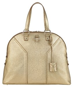 Saint Laurent Leather Hardware Charm Satchel in Metallic Gold