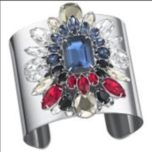 Swarovski NWT Shourouk For Swarovski Blue Multi-Color Rhodium Cuff, Free Ship!