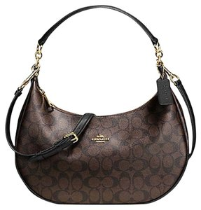 Coach Convertible Hobo Signature 34899 F34899 Chalk White Satchel in Black Brown Light Gold