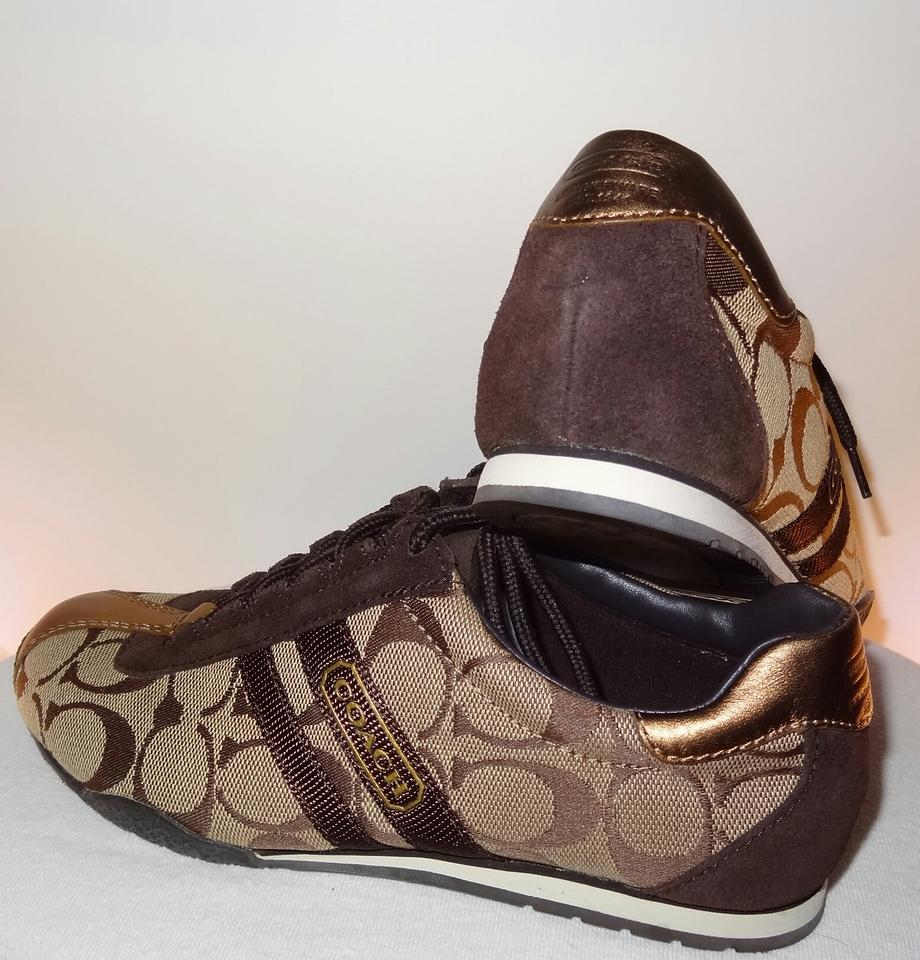ee109bb9a43a2 Coach Brown Gold Bronze Q048 Kate Fashion Sneakers Size US 5 Regular (M, B)