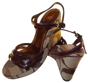 Coach Signature Fabric Braided Style Open Toe Ankle Strap Brown Wedges