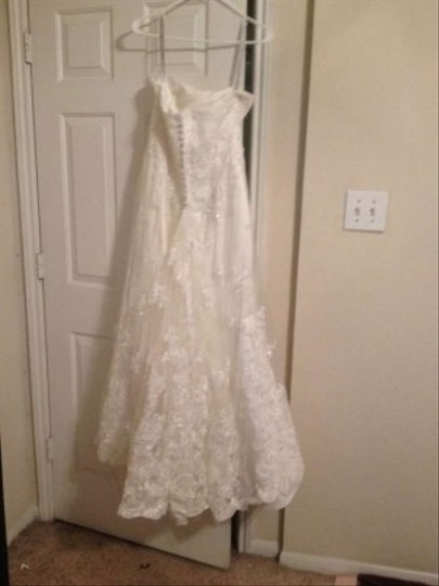 Alfred Angelo Ivory Lace 3021 Formal Wedding Dress Size 8 (M)
