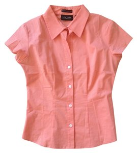 New York & Company Office Button Down Shirt Sorbet Orange
