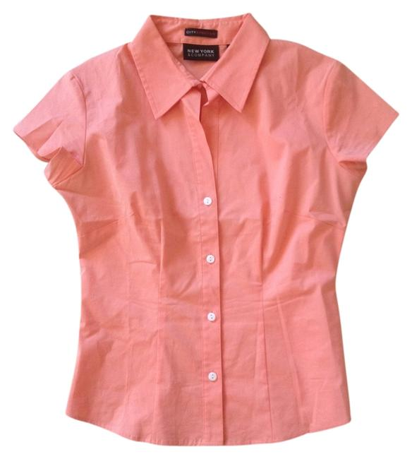 New York & Company Office @jennsarmoire Button Down Shirt Sorbet Orange
