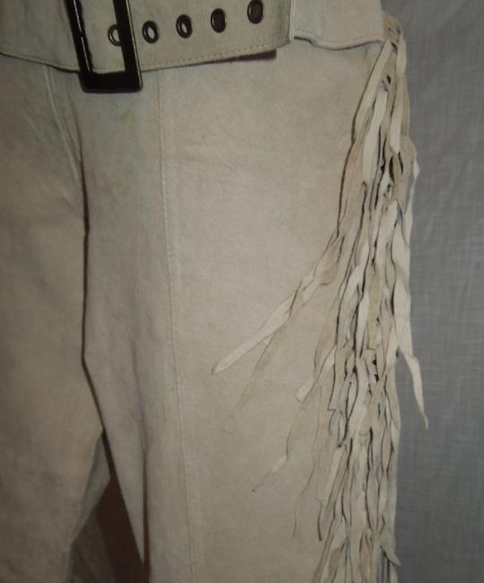 Wet Seal Boho Suede Fringe Western 8 Boot Cut Pants Sand