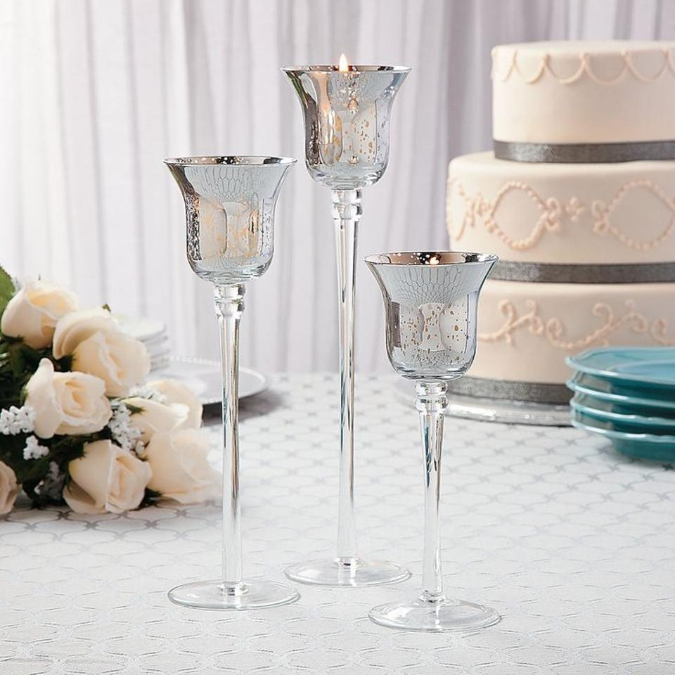Silver Mercury Glass Holders (Used For Centerpieces) Votive/Candle ...