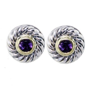 David Yurman Sterling Silver, 14k Yellow Gold, Amethyst, cookie stud earrings