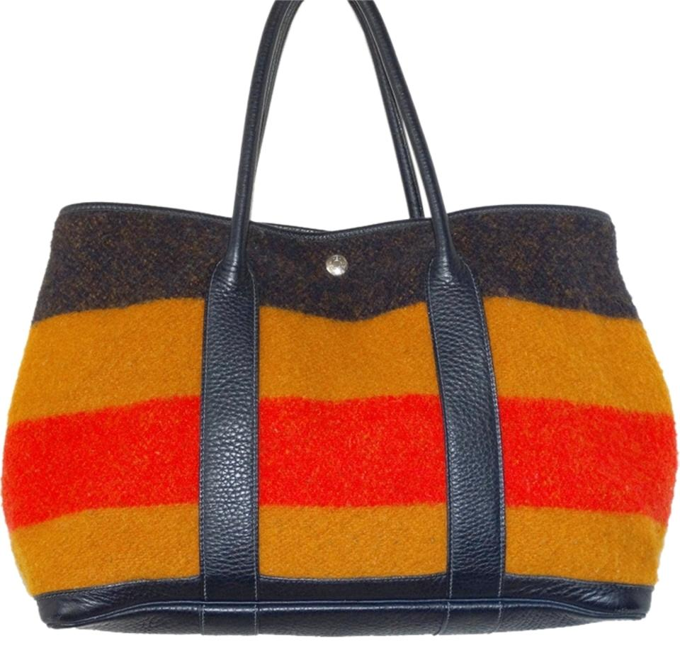 Hermès Garden Party Designer Handbags Purse Combination Of Orange Black  Blue Brown Gold Colors Rocabar Wool   Leather Tote 289b67037b7cb