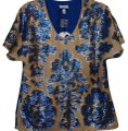 Tracy Reese Top Tan & Blue Image 0