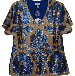 Tracy Reese Top Tan & Blue