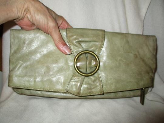 Hobo International Distressed Weathered Leather olive green Clutch Image 2