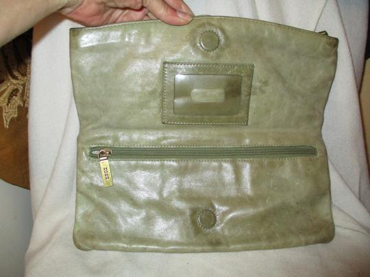 Hobo International Distressed Weathered Leather olive green Clutch Image 3