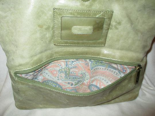 Hobo International Distressed Weathered Leather olive green Clutch Image 6