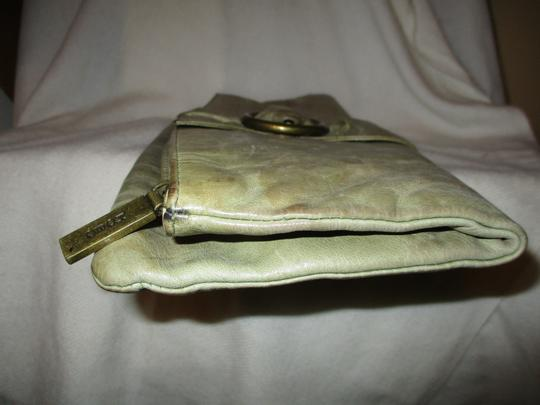 Hobo International Distressed Weathered Leather olive green Clutch Image 8