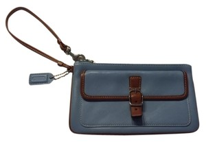 Coach Leather Wristlet in Light Blue and Tan Trim