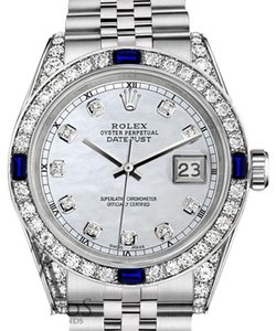 Rolex Ladies Rolex 26mm Datejust Steel White MOP Sapphire & Diamond A Track