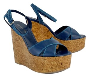 Sergio Rossi Blue Leather Cork Platform Wedges