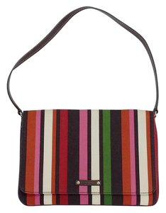 Kate Spade Multi Color Striped Canvas Leather Handbag Hobo Bag